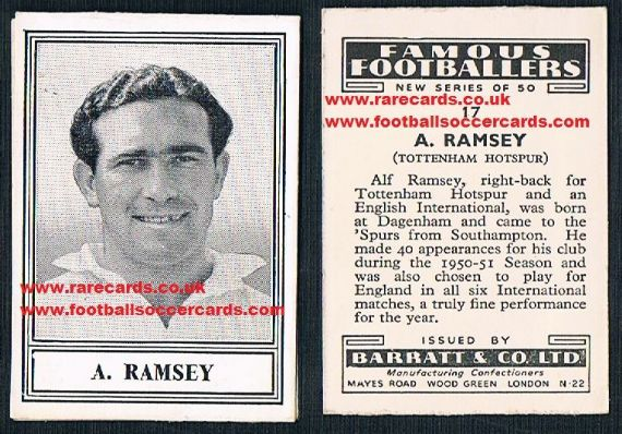 1951 Barratt Alf Ramsey Spurs for the year